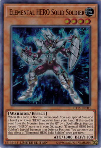 Ultra Rare YGO-1x-Near Mint-Elemental HERO Solid Soldier CT15-EN003 Limite