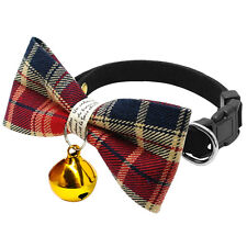 2pcs Dog Bow Tie Collar Pet Puppy Cat Grid Necktie Grooming & Bell for Chihuahua