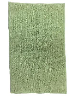 Reversible Sage Green Plush Pile Throw Rug 23x38 Cotton