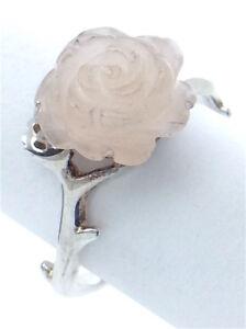 Vintage-Women-Size-8-75-US-Rose-Quartz-Shaped-Stone-Sterling-Silver-Ring-G559