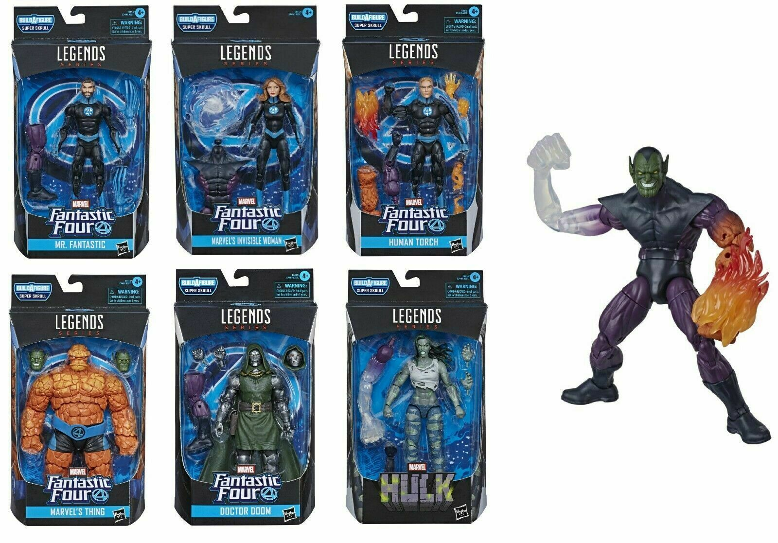 Marvel Legends Fantastic Four Wave Set of 6 Action Figures Super Skrull BAF