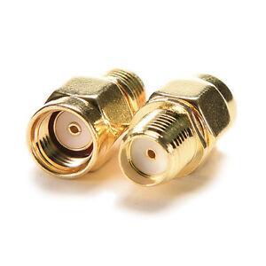 RP-SMA-Male-Plug-to-SMA-Female-Jack-Straight-RF-Coax-Adapter-Connector-NIB