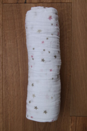 """Pink /& Beige ~ 47/"""" x 47/"""" Aden Anais Baby Girl Swaddle Blanket ~ Lovely ~ White"""