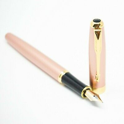 UK! BAOER #388 Matte Black Fountain Pen Fine Medium Nib Gold Trim Arrow Clip
