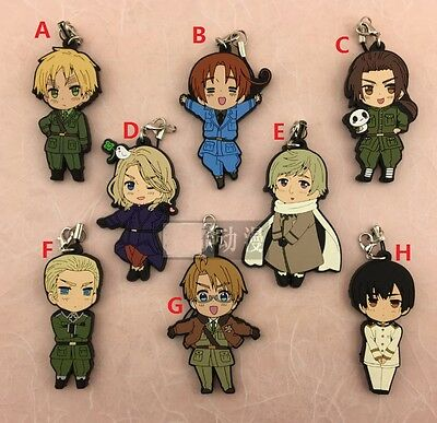 Hetalia Axis Powers The World Twinkle Rubber Strap Keychain Keyring APH Uniform