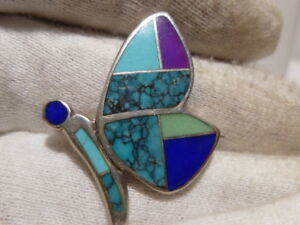 Zuni Inlay Butterfly Pendant Brooch Sterling Signed C Turquoise Coral Lapis