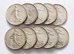 Lot-de-10-Pieces-Argent-5-francs-Semeuse-France