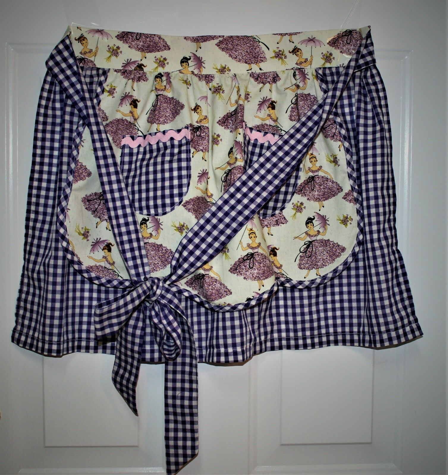 Ladies April Showers Girl with Parasol Handmade Apron