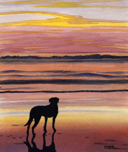 BLACK LAB BEACH SUNSET DJR DOG PAINTING PRINT POSTER WALL ART ROOM HOME DECOR