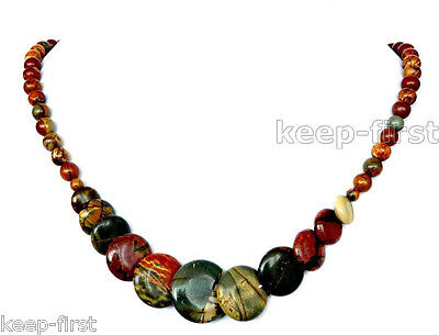 New Natural 6-20mm hand-made Picasso Jasper Round & Coins Beads Necklace