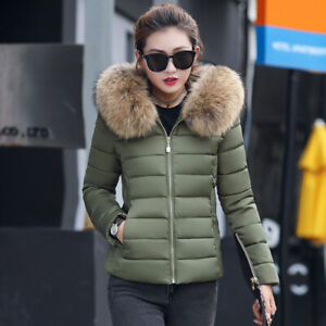 Winter-New-Women-039-s-Down-Cotton-Parka-Short-Fur-Collar-Hooded-Coat-Quilted-Jacket