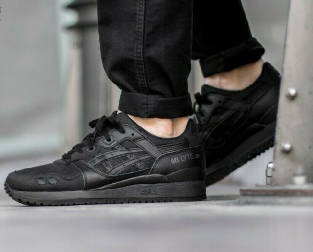 competitive price 50476 f2bdd Asics Gel Lyte III Triple Black Men's Trainers Size Uk 7,8,9,9.5,10,10.5
