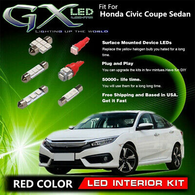 7pcs Red Interior Car Led Lights Kit Fit For 06 08 Honda Civic Coupe Sedan Us Ebay
