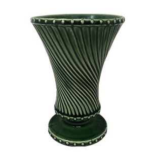 """Vintage McCoy Pottery Green Vase Swirl Design Footed Round 8"""" Tall Made in USA"""