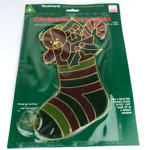 VTG-Woolworth-Faux-Stained-Glass-Large-10-Window-Ornament-Christmas-Stocking