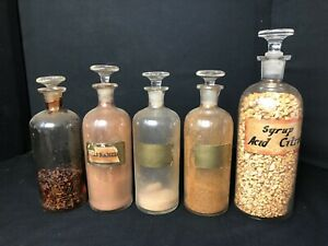 5 Antique Apothecary Jar Set With Gl