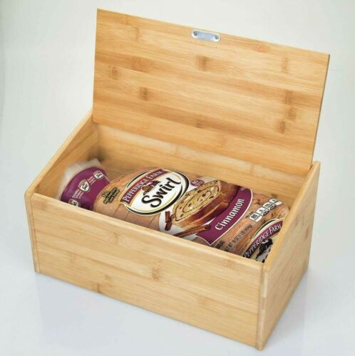 BREAD BIN BAMBOO WOODEN STORAGE BOX WITH LIFT UP OR DROP DOWN LID