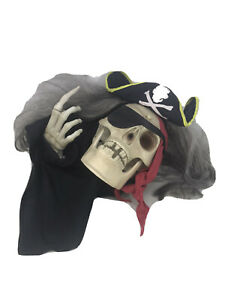 FOR-PARTS-2005-Gemmy-Halloween-Animated-Pirate-Talking-Skull-Partly-Working-READ