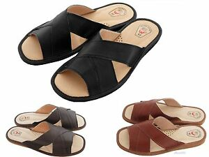 Mens-Slipper-Shoes-Mule-Sandals-Flip-Flop-Leather-Black-Brown