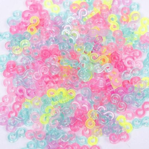 240pc S-Clips Rubber Loom Bands Bracelet Making Child Mix Color DIY Tool Jewelry
