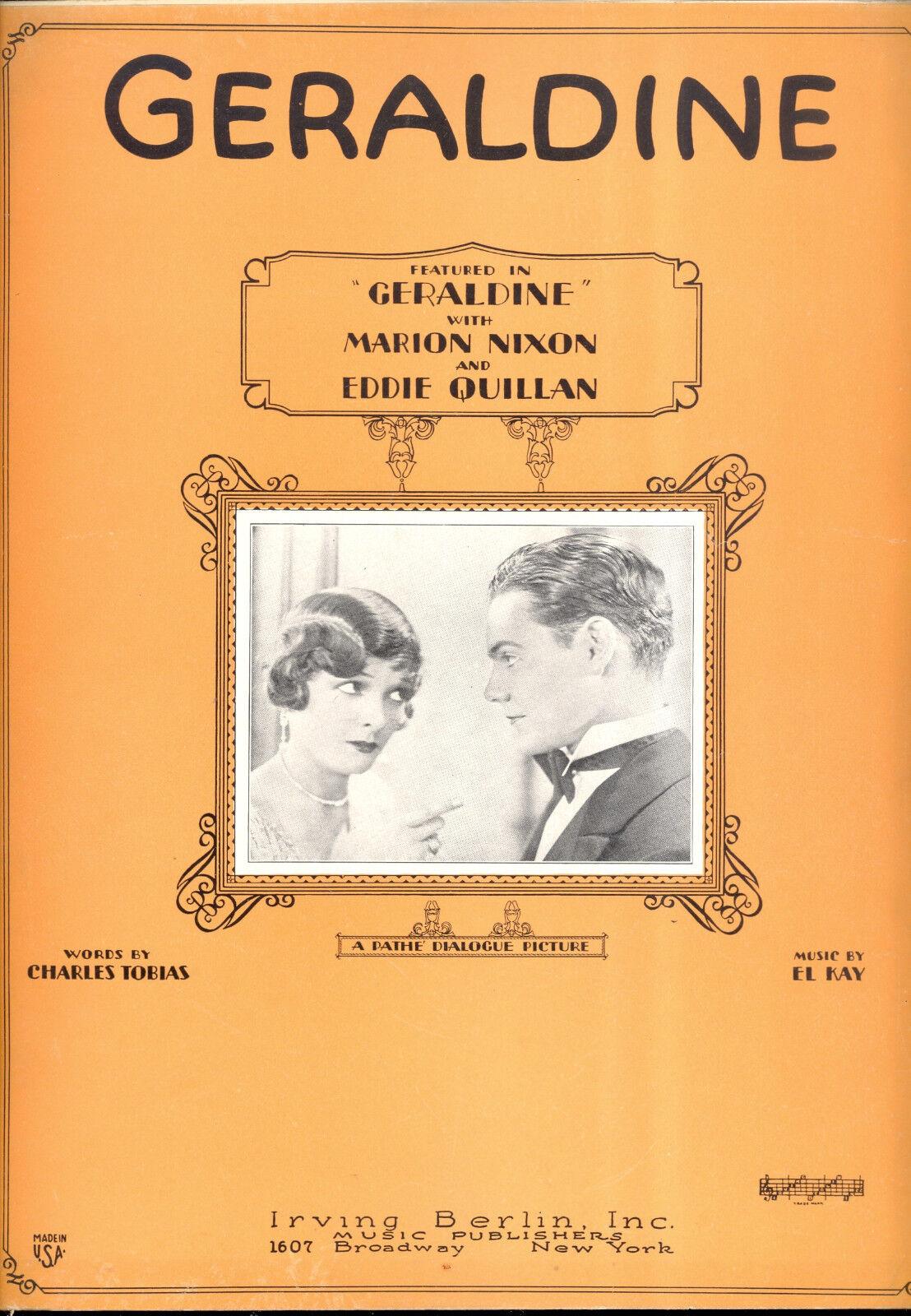 GERALDINE Sheet Music  Geraldine  Marion Nixon Eddie Quillan