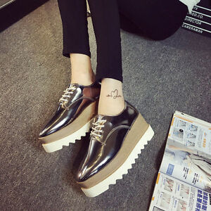c6002609bb12 Women s Fashion Shiny Lace Up Flats Double Platform Creepers Shoes ...