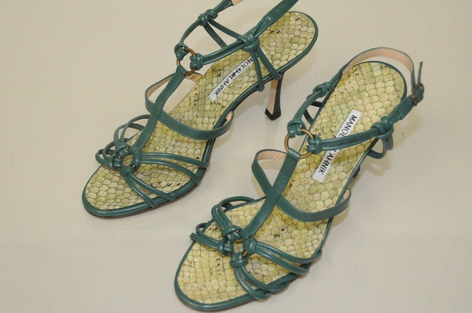 835 New Manolo Blahnik  90 Green Leather Snake Brocade Strappy Sandals shoes 37