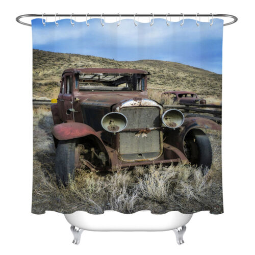 Polyester Fabric Shower Curtain Liner Bathroom Accessories Vintage Rustic Truck