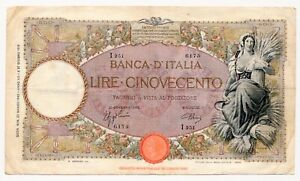 ITALY banknote 500 Lire 23.3.1942 VF Very Fine condition