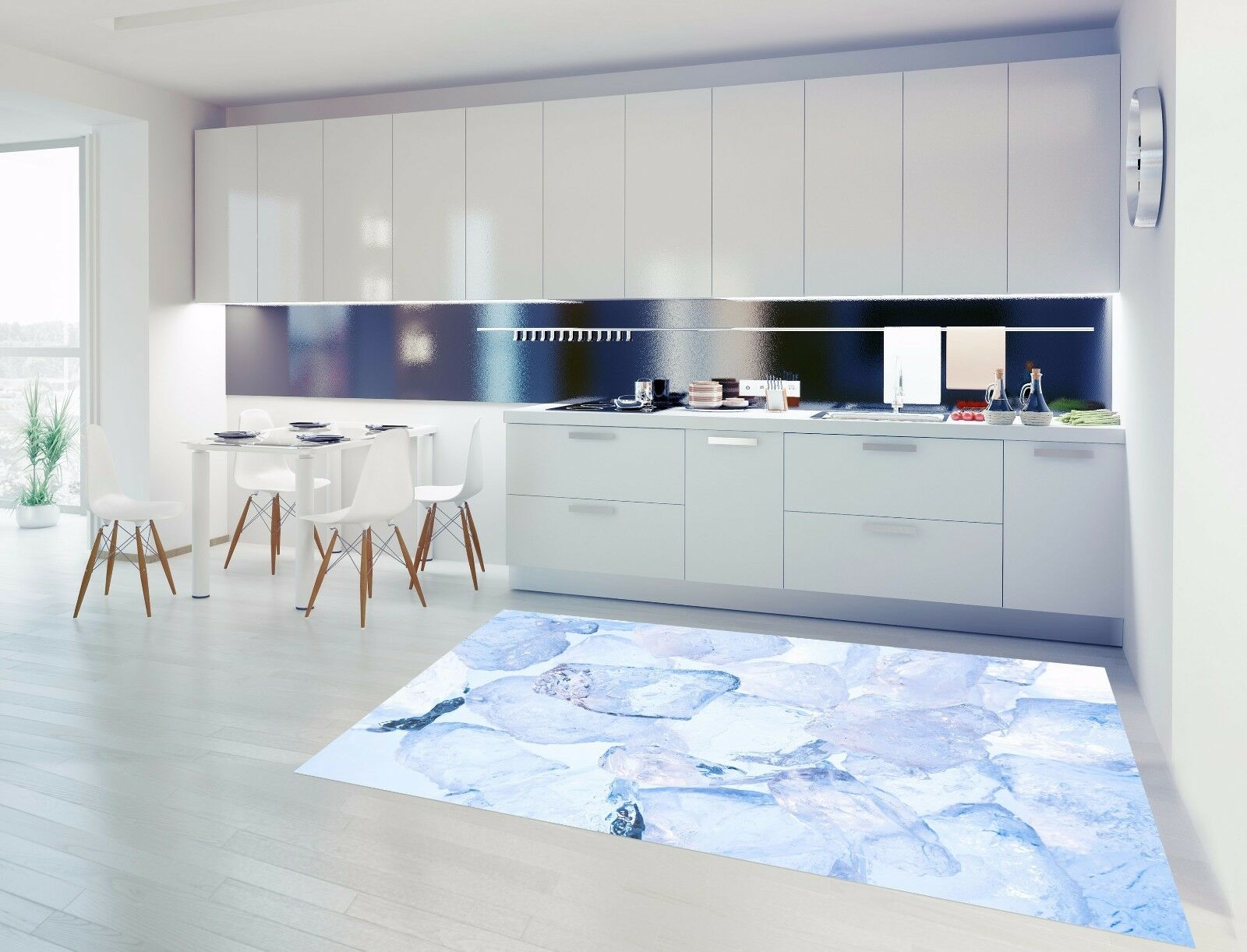 3D Blau Crystal 8 Kitchen Mat Floor Murals Wall Print Wall AJ WALLPAPER AU Carly