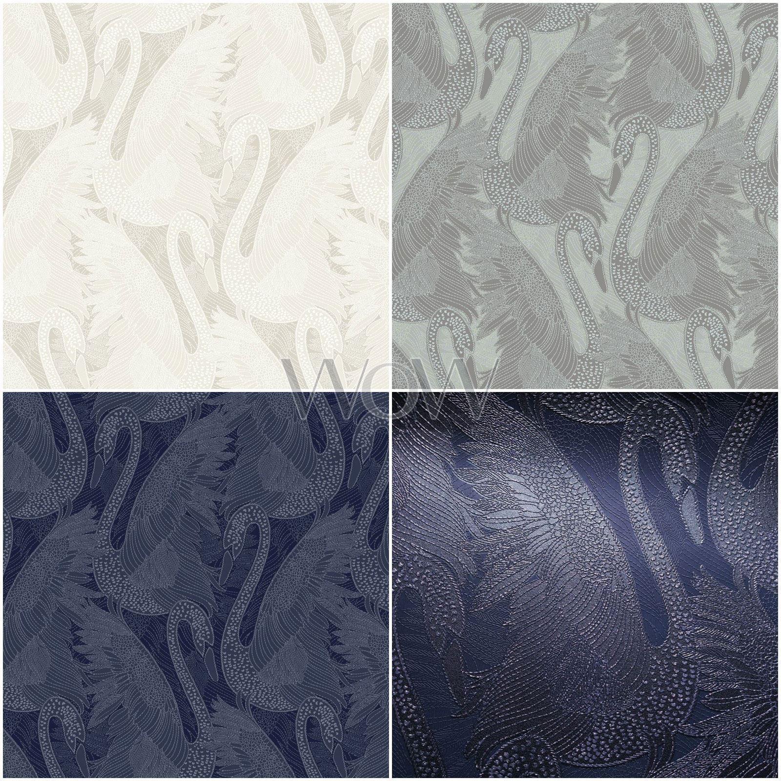 Muriva Odette Swan Papier Peint Paillettes Creme Vinyle Epais Bleu