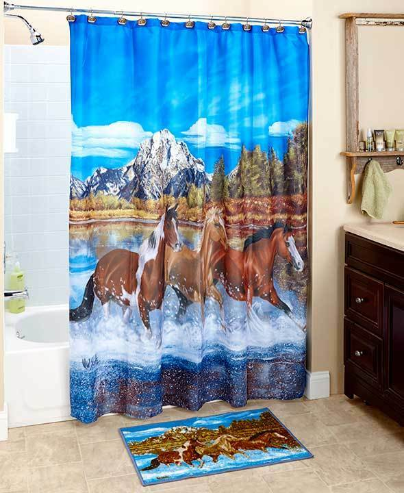 Majestic Western Running Horses Shower Curtain Rug Wildness Galloping Horses Set