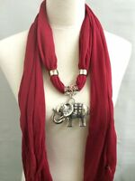 Red Scarf With Elephant Charm, Pendant, Jewelry Necklace Scarf