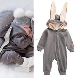 Baby Girls Boys Kids 3D Rabbit Ear Hooded Romper Jumpsuit Bodysuit Outfits 0-4Y