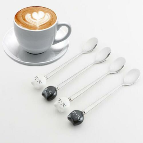 Tableware Stainless Steel Dinnerware Fruit Fork Tea Scoops Cat Coffee Spoons SJ