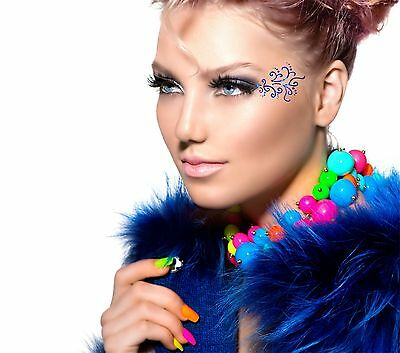 ADDTTOO® Temporary Blue Metallic Make Up Foil Tattoo Party Eyes Lace Swirls