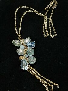 Gold Tone Green Faceted Acrylic Bead Silver Foil Faux Pearl Tassel Necklace