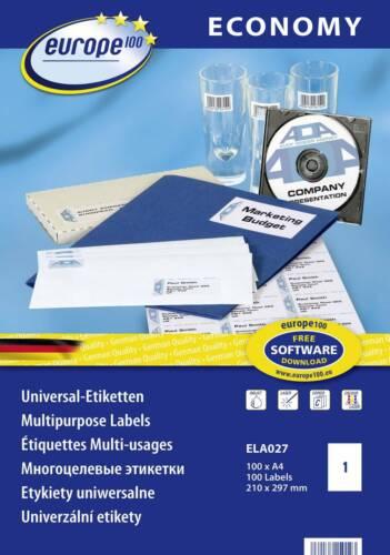 Europe 100 ELA027 Etiketten 210 x 297mm Papier Weiß 100 St Permanent Universal