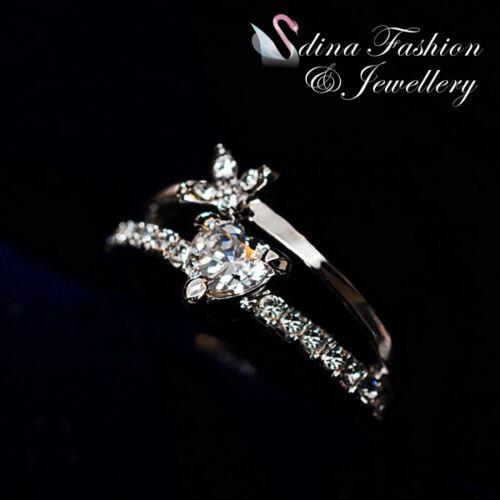 18K White /& Rose Gold Plated Simulated Diamond Flower Heart Ring