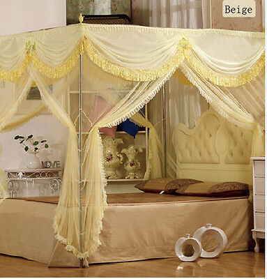Luxury 4 Post Bed Curtain Canopy Mosquito Net Cal King Queen Twin-XL(No Bracket)