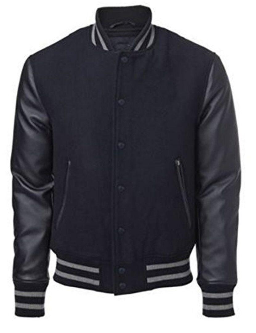 US Windhound College Jacke schwarz mit schwarzen Echtleder Ärmel XL