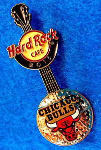 Chicago-Taureaux-NBA-Basketball-3D-Balle-Logo-Guitare-2013-Hard-Rock-Cafe-Pin-Le
