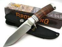 Browning Stacked Leather Drop Point Hunter Fixed Hunting Knife + Sheath 814