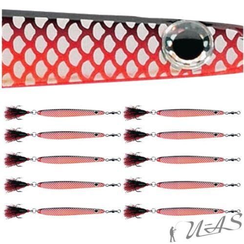 DAM 10 Stück FZ Dressed Seatrout Meerforellenblinker Blinker Japanrot-Silber 18G
