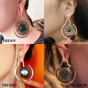 Tribal-Brass-Blooming-Flower-Ear-Weights-Piercing-Earring-Tunnel-Plug-Gauges