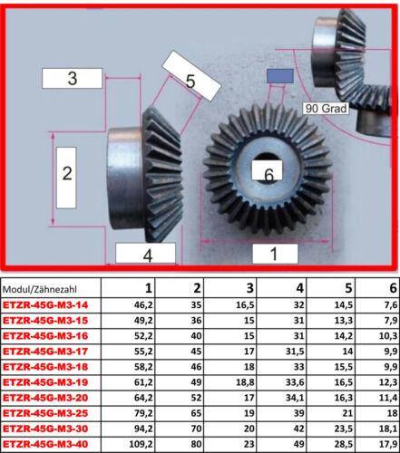 ETZR-45G-M1-16Z  Zahnrad Kegelrad Modul1 16 Zähne 45 Grad für Übersetzung 1:1