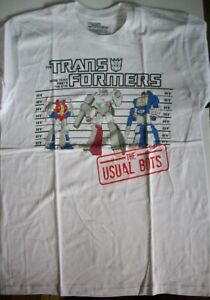 Transformers-Line-Up-The-Usual-Bots-Adult-Unisex-T-Shirt-New