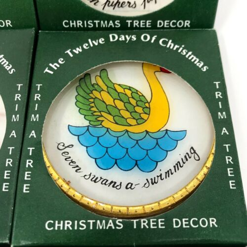 Vintage 12 Days of Christmas Ornaments Trim A Tree Hand Painted Glass Hong Kong