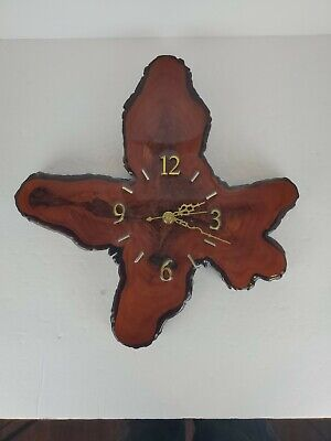 Vintage Mid Century Lacquered Cypress Tree Wood Wall Clock