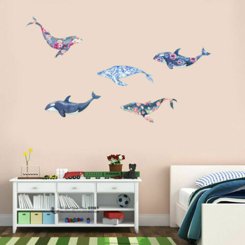 Flower Pattern Whale Wall Sticker Removable Decal Home Kids Nursery Decor Gift